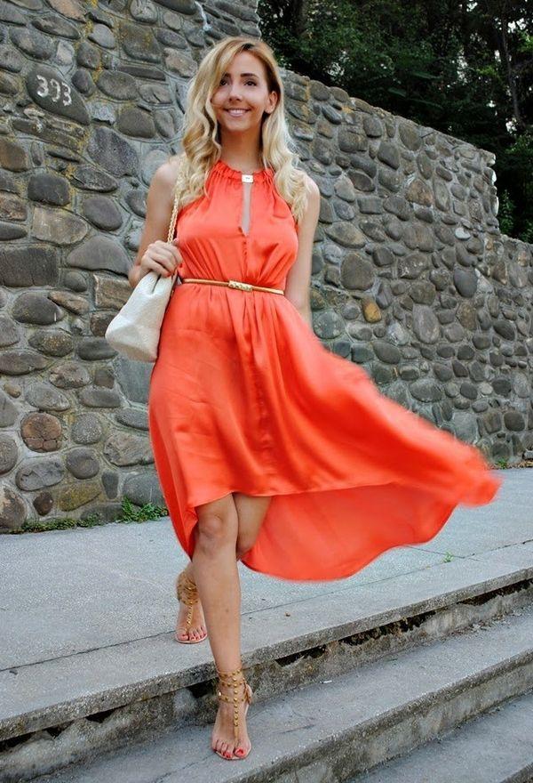 Zapatos 2018 Amazonas color atractivo Vestidos casuales de moda color naranja   plus size ...