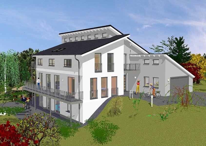 Pultdachhaus vorderansicht modernes wohnen mit garage for Modernes wohnen haus