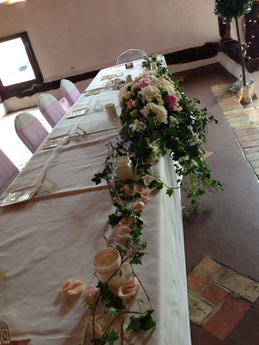 White hydrangea,pink rose candles,long wedding table centrepieces ...