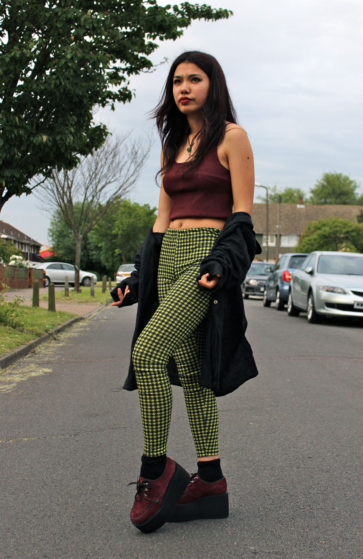 Burgundy Crop Top, Creepers, Green Plaid Pants | fashion ...