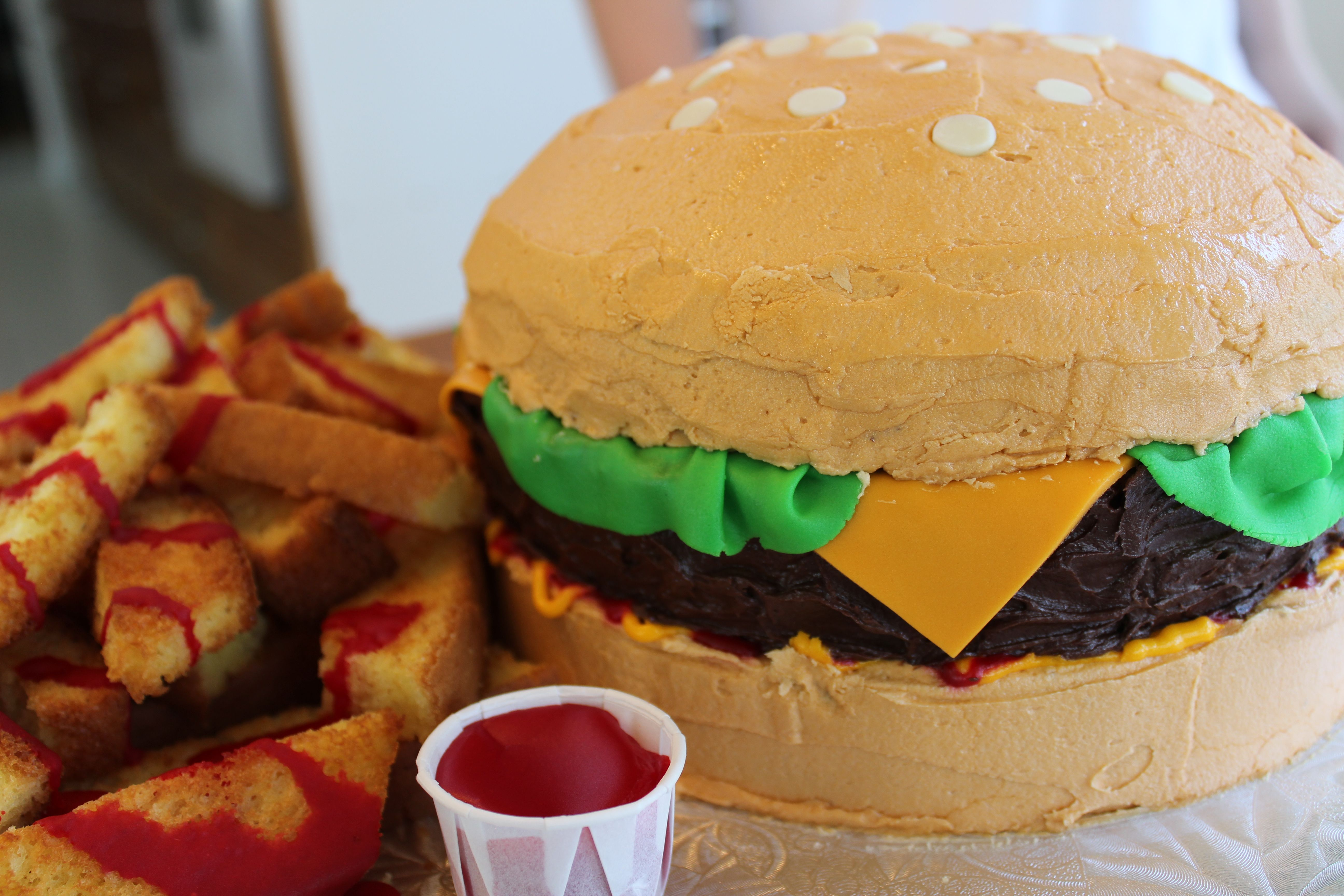 Noah's 14th birthday cheeseburger cake. Awesome!