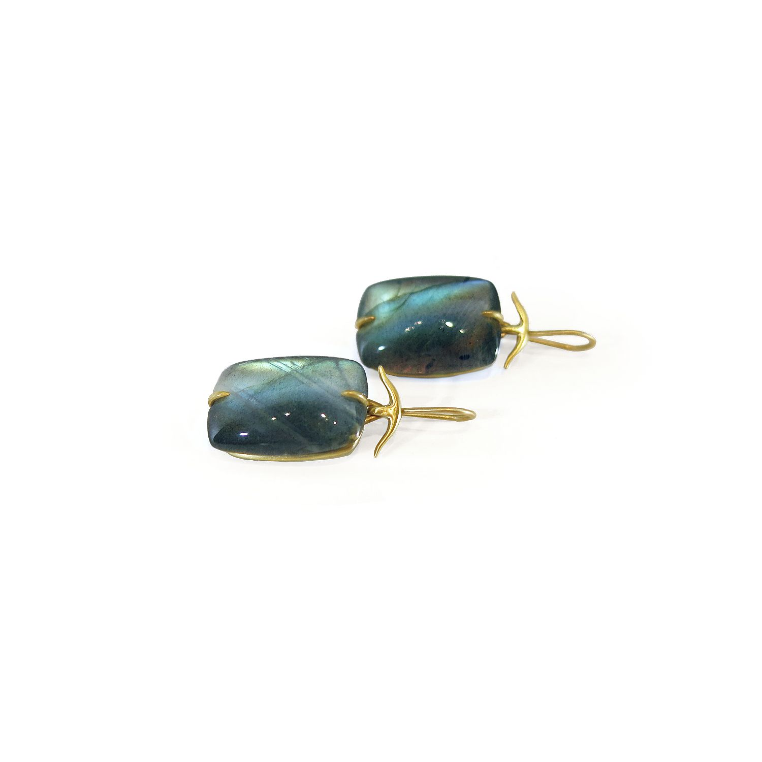 229ebaeec Gabriella Kiss 18k yellow gold & labradorite pillow earrings.  #GabriellaKiss #jewelry #earrings #labradorite #blue #jewellery #heirlooms # 18K #gold # ...