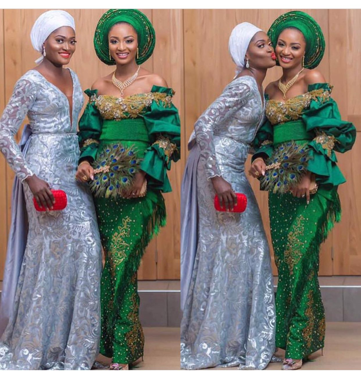 Green And Silver Asoebi African Attire African Traditional Wedding Formal Dresses Long