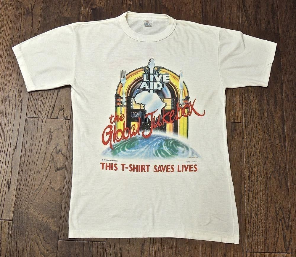 f59e8ba1990c Vintage Genuine Live Aid 1985 T-shirt at Wembley stadium  fashion  clothing   shoes  accessories  mensclothing  shirts (ebay link)