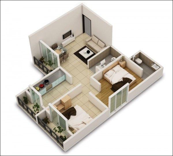 3D small house floor plans under 1000 sq ft #houseplan #floorplan - logiciel gratuit de plan de maison 3d