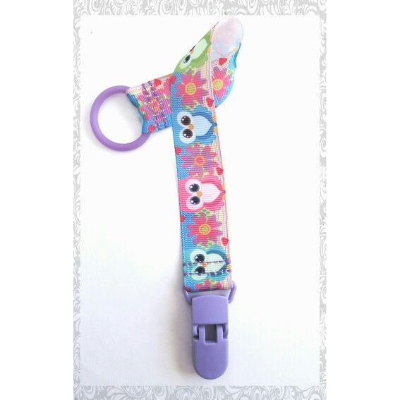 Pacifier holder colorful owls
