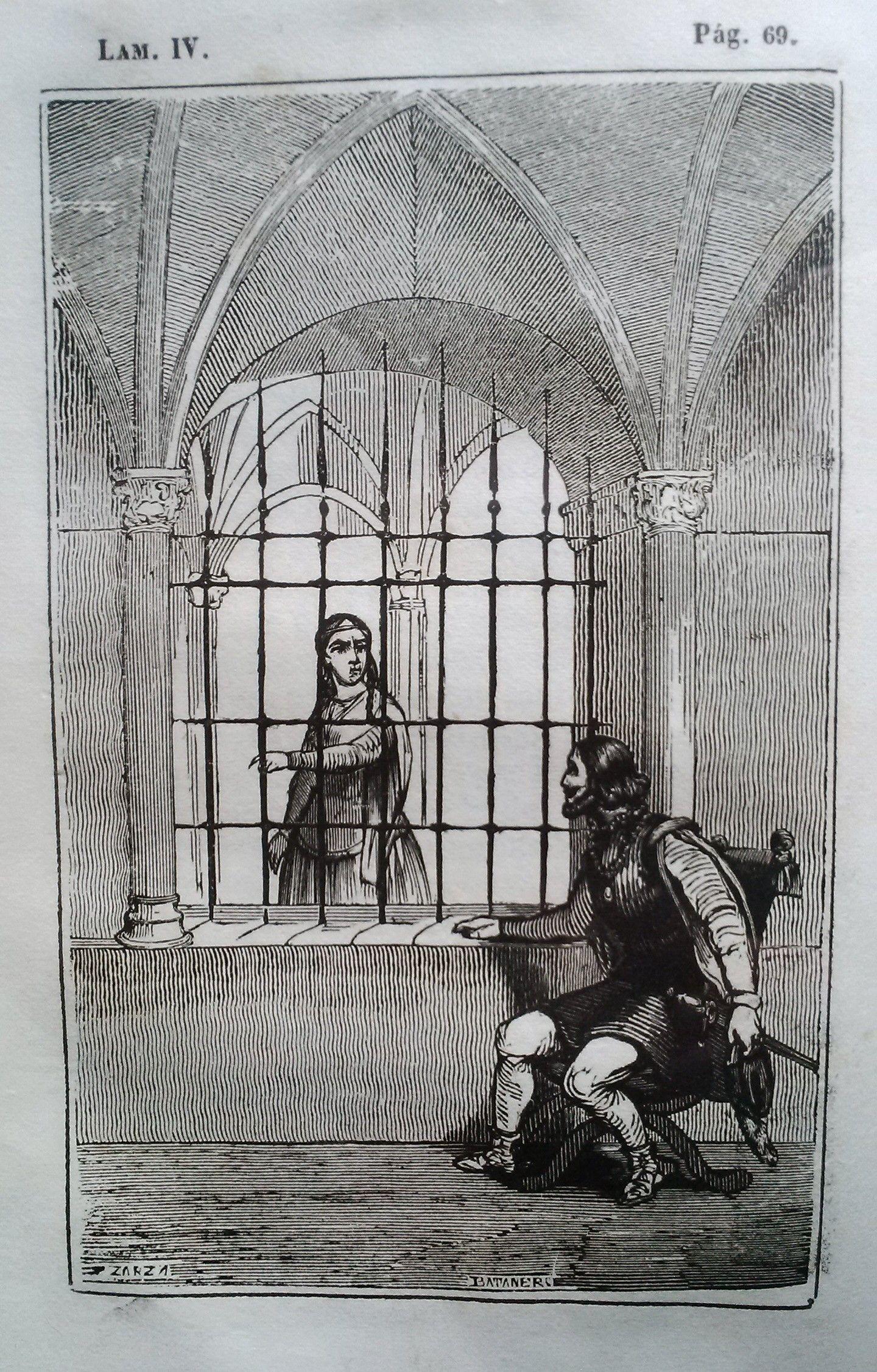 El Señor de Bembibre. Por Enrique Gil y Carrasco - (1844) Lámina IV ... Este era el hombre con quien debia unir su suerte doña Beatriz... Llego por fin esta acompañada de su tia y ataviada como aquel caso lo pedian y haciendo una ligera referencia al conde se sentó en otro sillon destinado para ella en la parte de adentro de la reja...