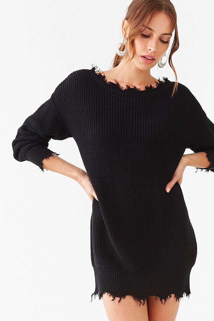 Distressed Mini Sweater Dress Forever 21 Mini Sweater Dress Sweater Dress Distressed Sweater Dress [ 1125 x 750 Pixel ]