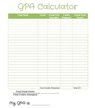 Free Gpa Calculator Printable Gpa Worksheet And Editable Gpa