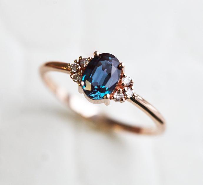 Dora Oval Alexandrite Engagement Cluster Ring