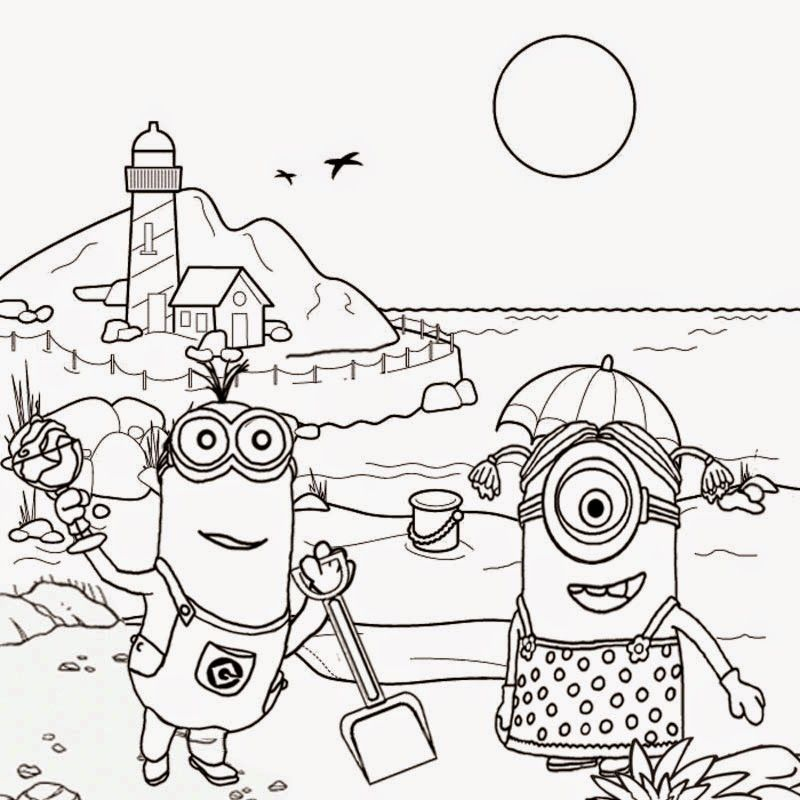 Minions beach tropical sands | minions | Pinterest | Colorear ...