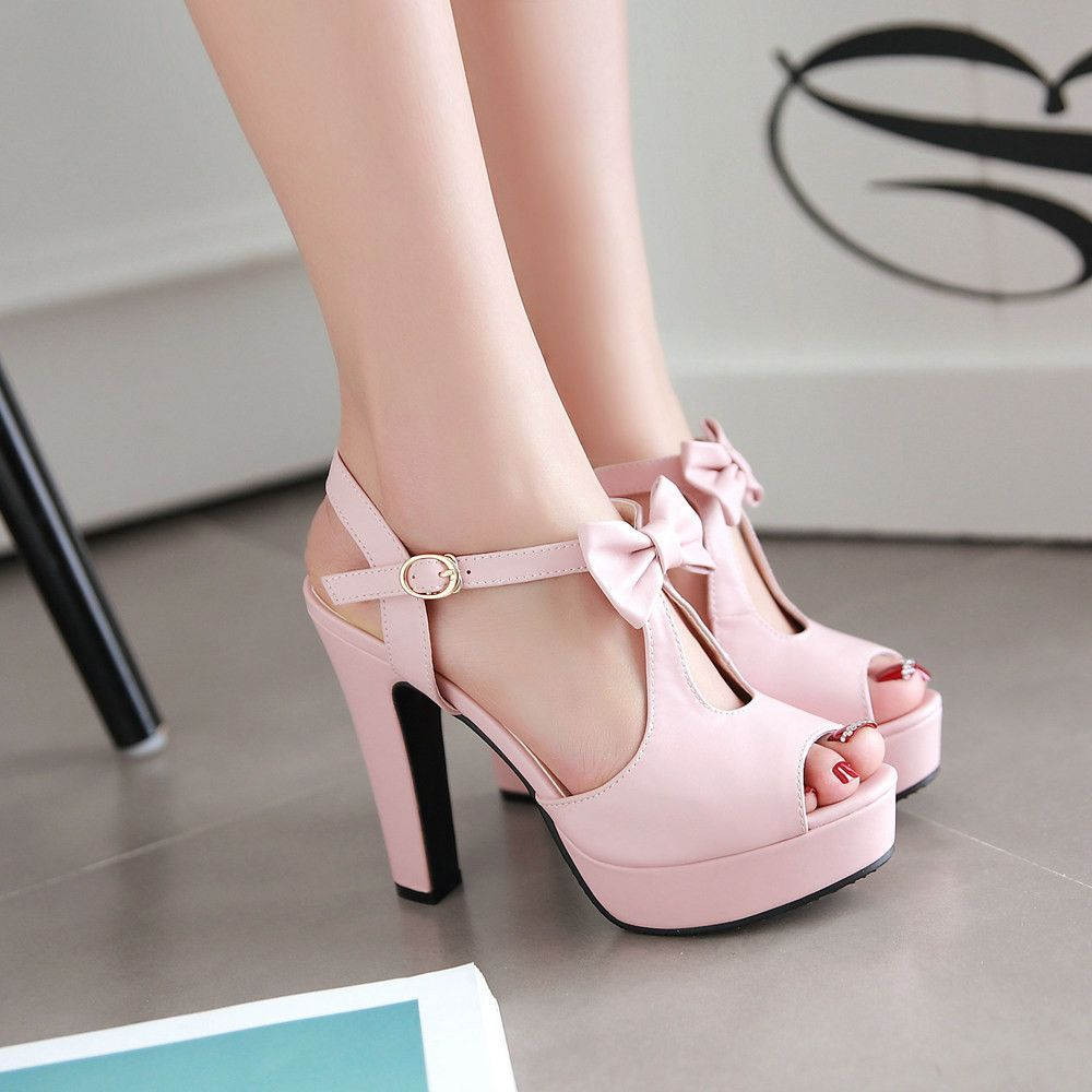 18813ad3f0d Be cute and fashion with this bow high heel shoes