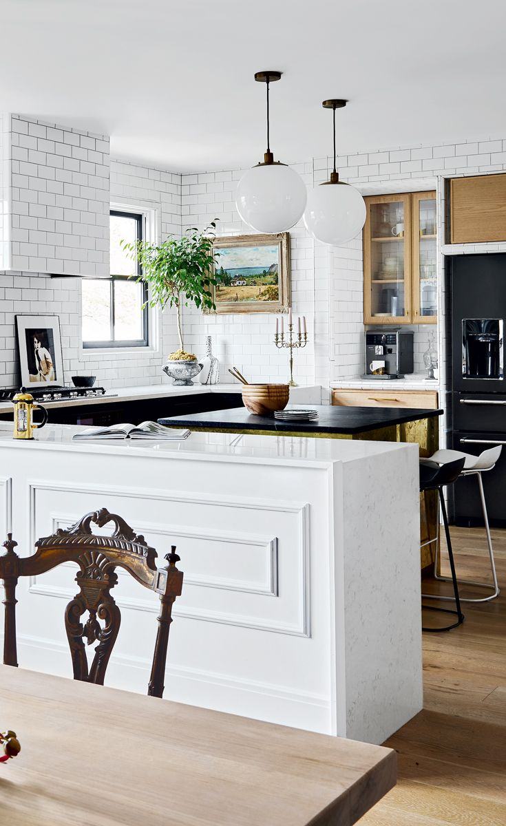 A designer\'s kitchen goes from pink and pretty to chic and ...