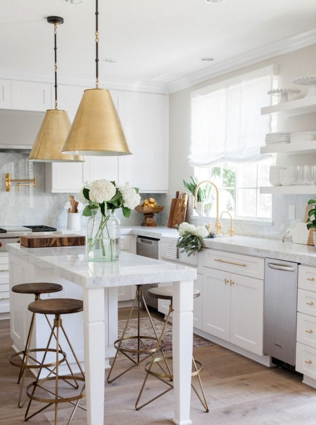White Kitchens With Gold Accents Kitchen Makeover Inspiration