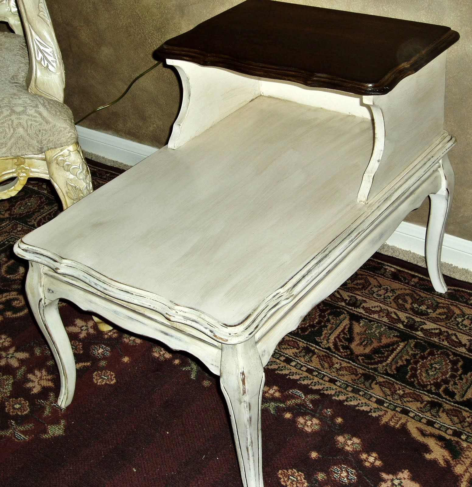 Faux painting furniture ideas - Faux Painting Furniture Vintage French Country Cream Aged Provincial Side Table