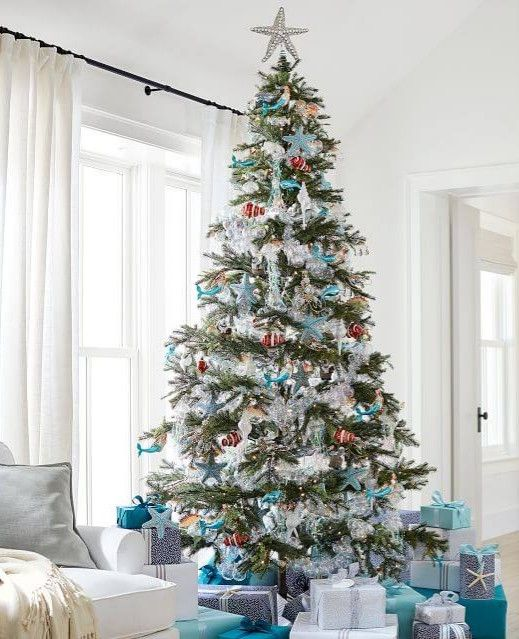 Sparkling Coastal Ornaments From Pottery Barn Blue Glass