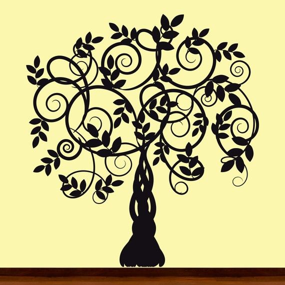 Black Silhouette Vine Tree Decal Sticker Picture by OriginalWalls ...