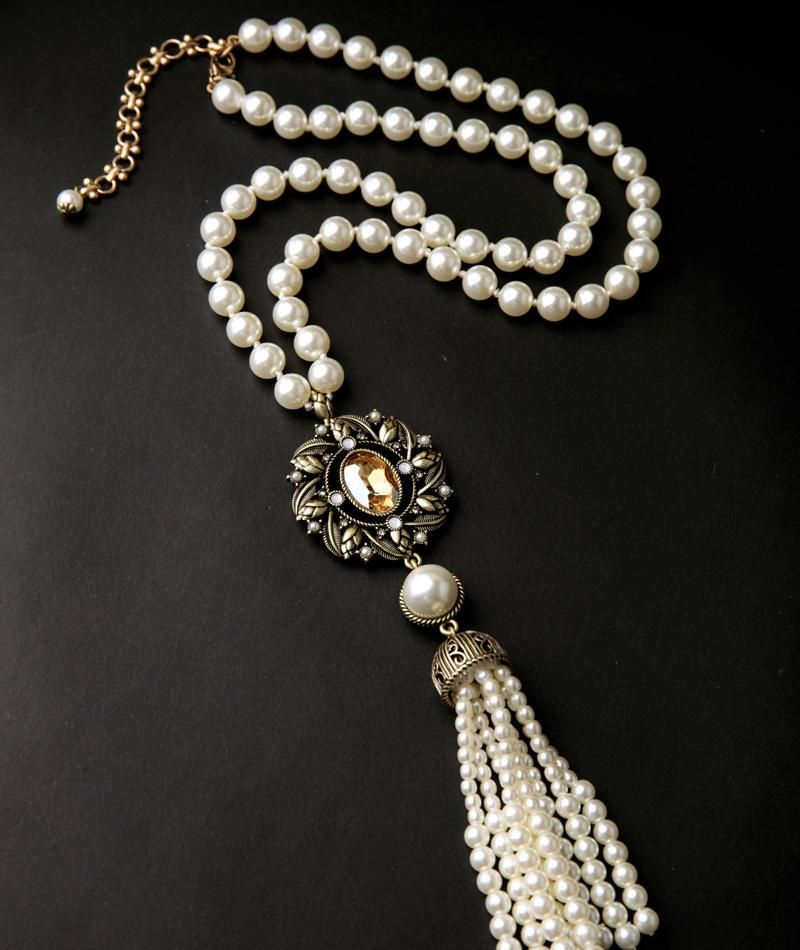 New Marquise Pearl Necklace With Long Fringe Flowers