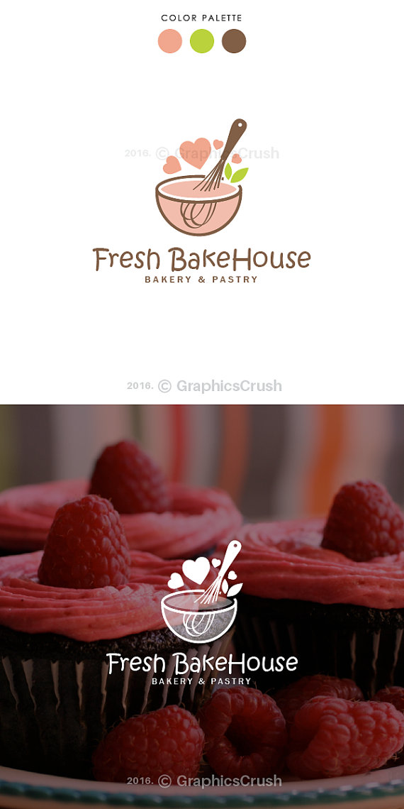 Bakery Logo Pastry Logo Whisk Logo Bowl Logo Baking Logo Cupcakes