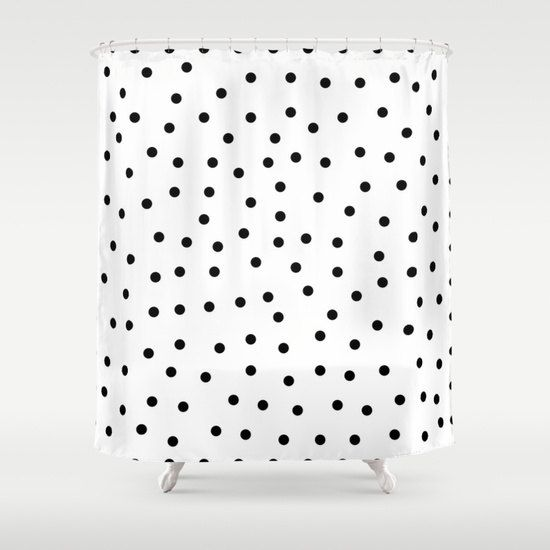 Polka Dot Shower Curtain Kids Bathroom Decor Black And White Girls Bath Fabric Cu