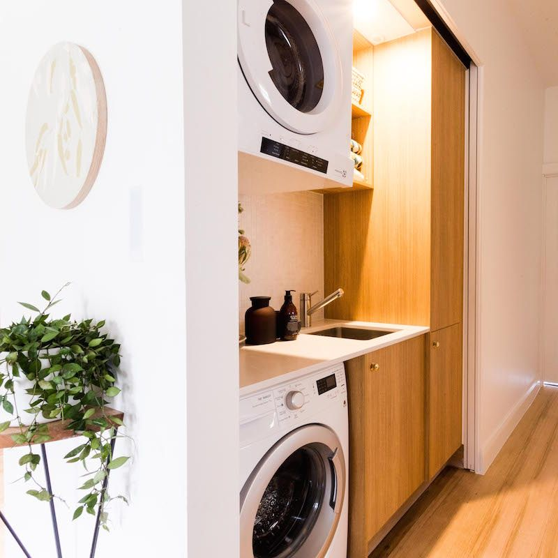 A Perfectly Organised Bathroom In One Day: A Small Space Organised Laundry Space. Give Yourself Bench