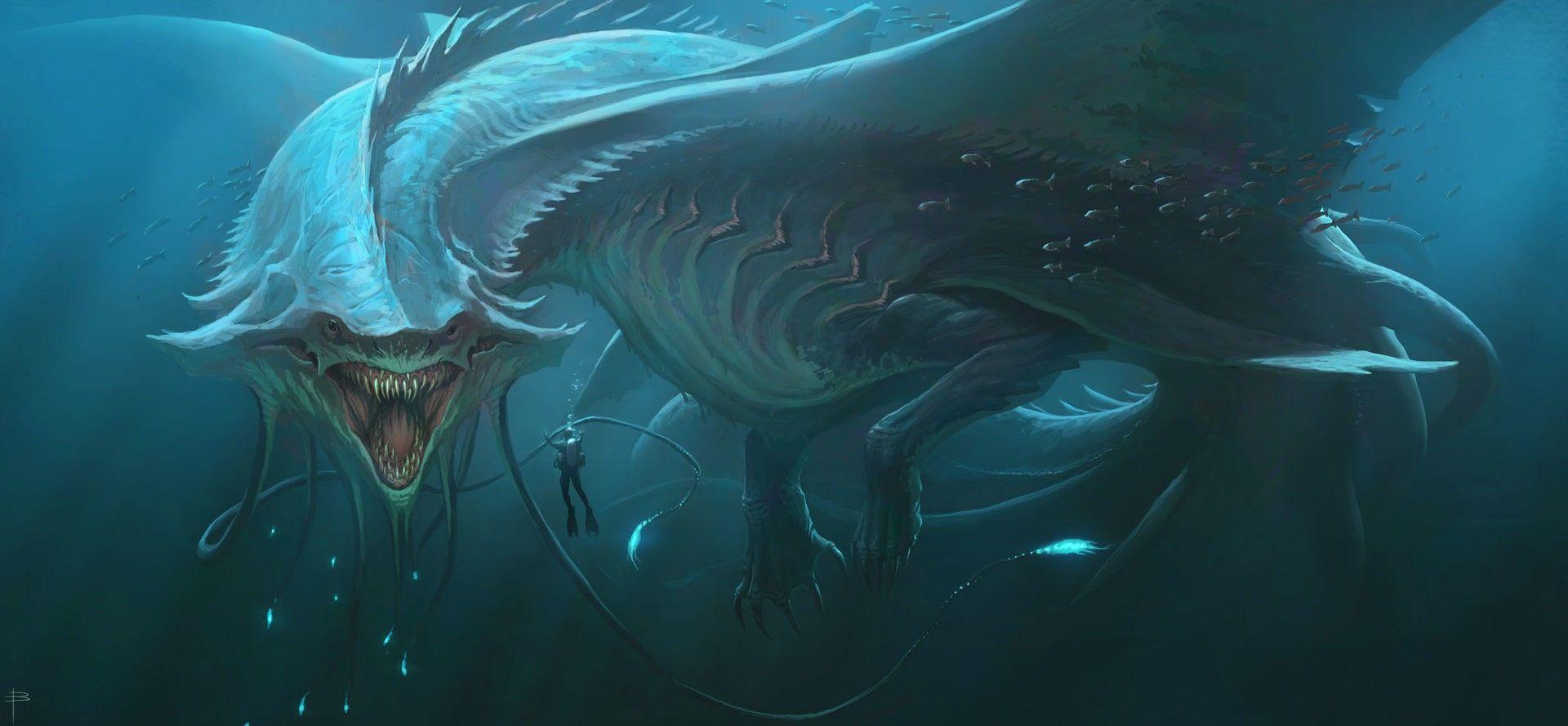 Sea Creature Sea Monsters Fantasy Creatures Digital Art Fantasy
