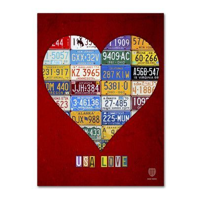 """Latitude Run Heart by Design Turnpike by Design Turnpike Graphic Art on Wrapped Canvas Size: 32"""" H x 24"""" W x 2"""" D"""