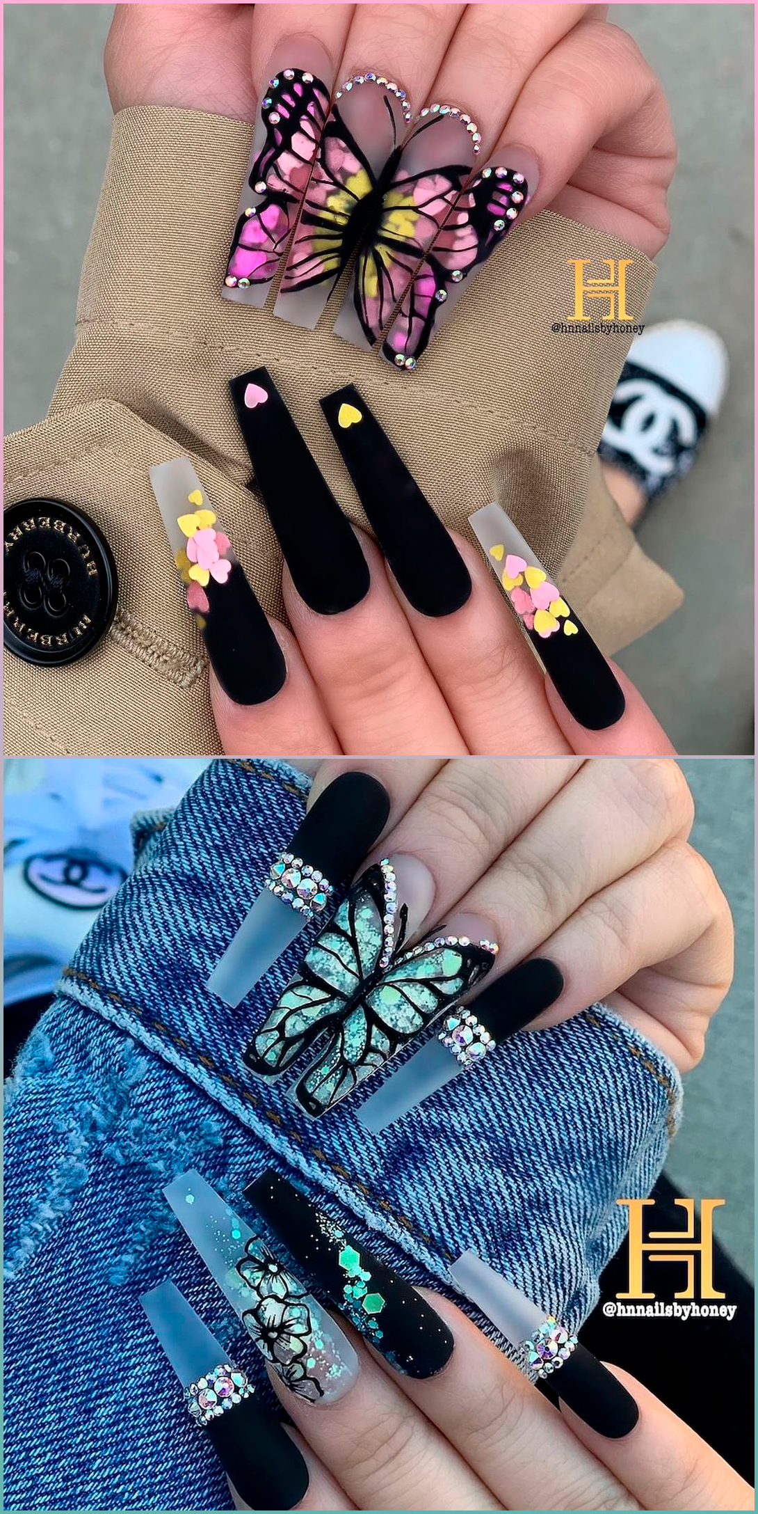 Black Butterfly Nails Acrylic In 2020 Black Acrylic Nails Short Acrylic Nails Designs Black Acrylic Nail Designs