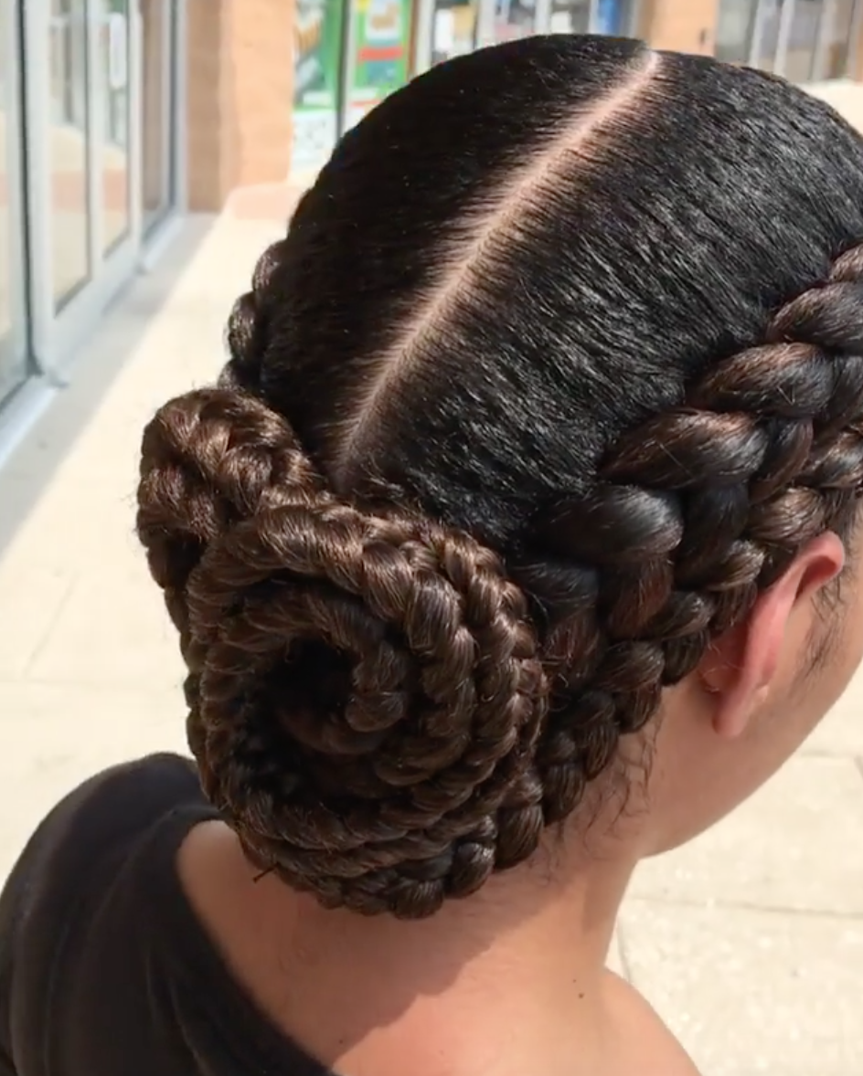 Beautiful braided bun nisaraye blackhairinformation