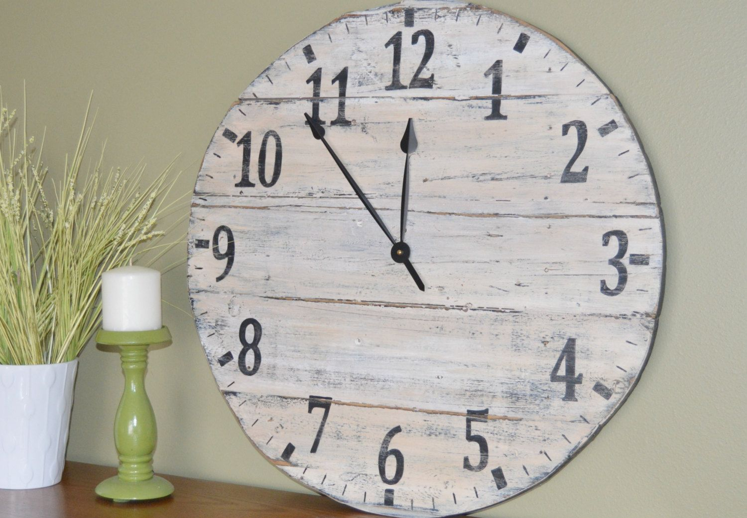 Large Oversized Distressed Wood Wall Clock Rustic Black And Cream With  Traditional Numbers (110.00 USD
