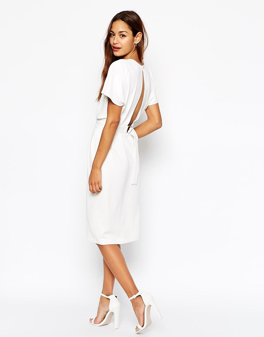 this white dress is just gorgeous the open back detail adds