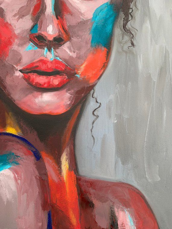 Colorful Face Emotional Art Impasto Painting Abstract Portrait Woman Modern Pallet Knife Gift For Friend Emotional Art Oil Pastel Art Emotional Painting