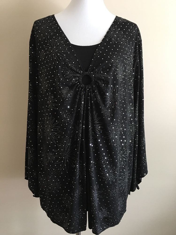 65377252e1df Maggie Barnes Women's Blouse Plus Sz 3X Black Silver Top Bell Sleeves  Shimmering #MaggieBarnes #Blouse #EveningCareerParty