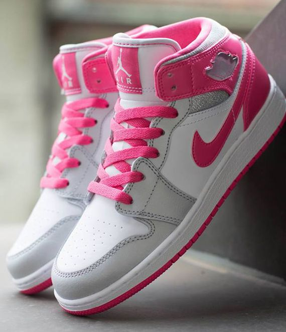 952b0d0c601 Air Jordan 1 Mid GS - White - Metallic Platinum - Dynamic Pink ...