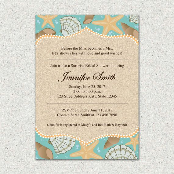 Beach Themed Bridal Shower Invitation And Or Thank You Card Suite Custom Digital File Pri