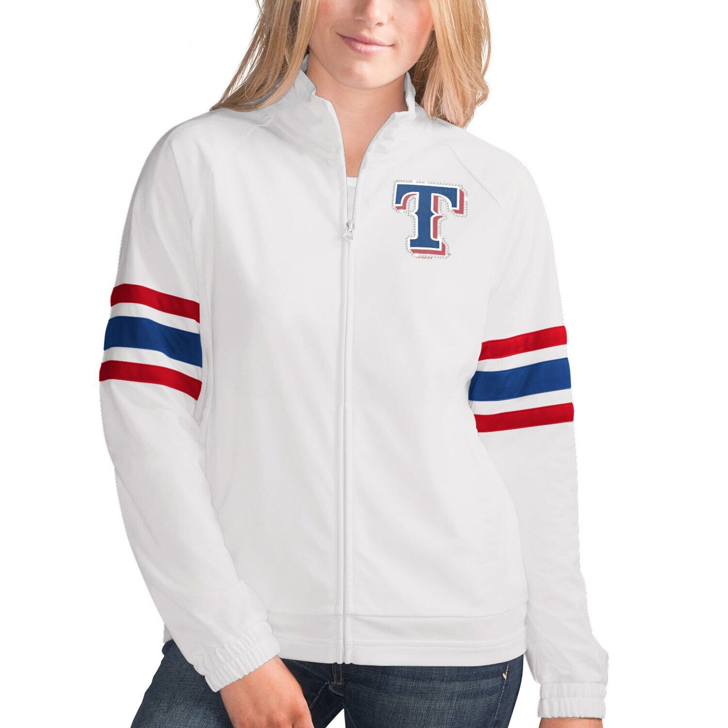 Women S G Iii 4her By Carl Banks White Texas Rangers Game Score Full Zip Track Jacket Affiliate Banks White Texas In 2020 Jackets Track Jackets Chicago Cubs Game