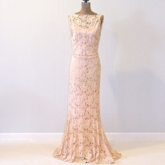Vintage 1930s Dress, 30s Blush Lace Evening Gown and Satin Slip, Art ...
