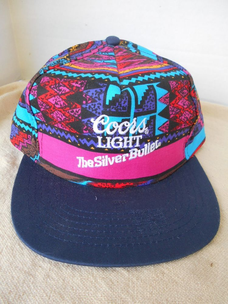 4336281a3f2af 90s Coors Beers Light The Silver Bullet Baseball Cap Hat Snapback Mosaic USA