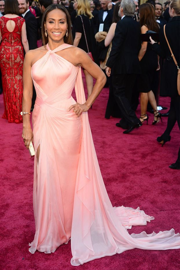 Jada Pinkett Smith wore a pale pink Versace gown.