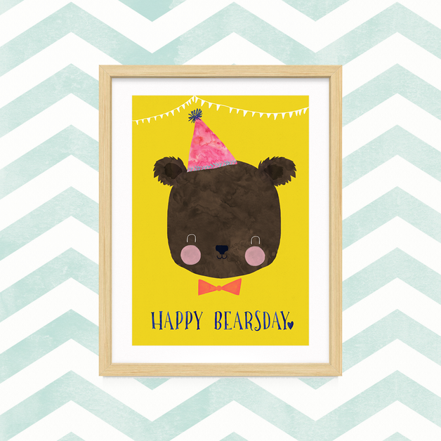"""Digitaldruck - Print """"Happy Bearsday"""" DIN A4 - ein Designerstück von TreeChild bei DaWanda"""