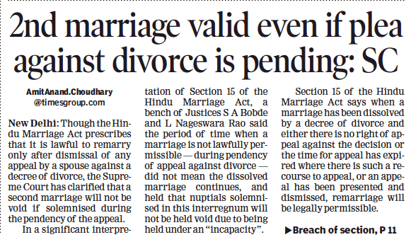 The Supreme Court Has Clarified That The Second Marriage Would Not Be Void If Solemnized During The Pendency Of The Hindu Marriage Act Divorce Lawyers Divorce