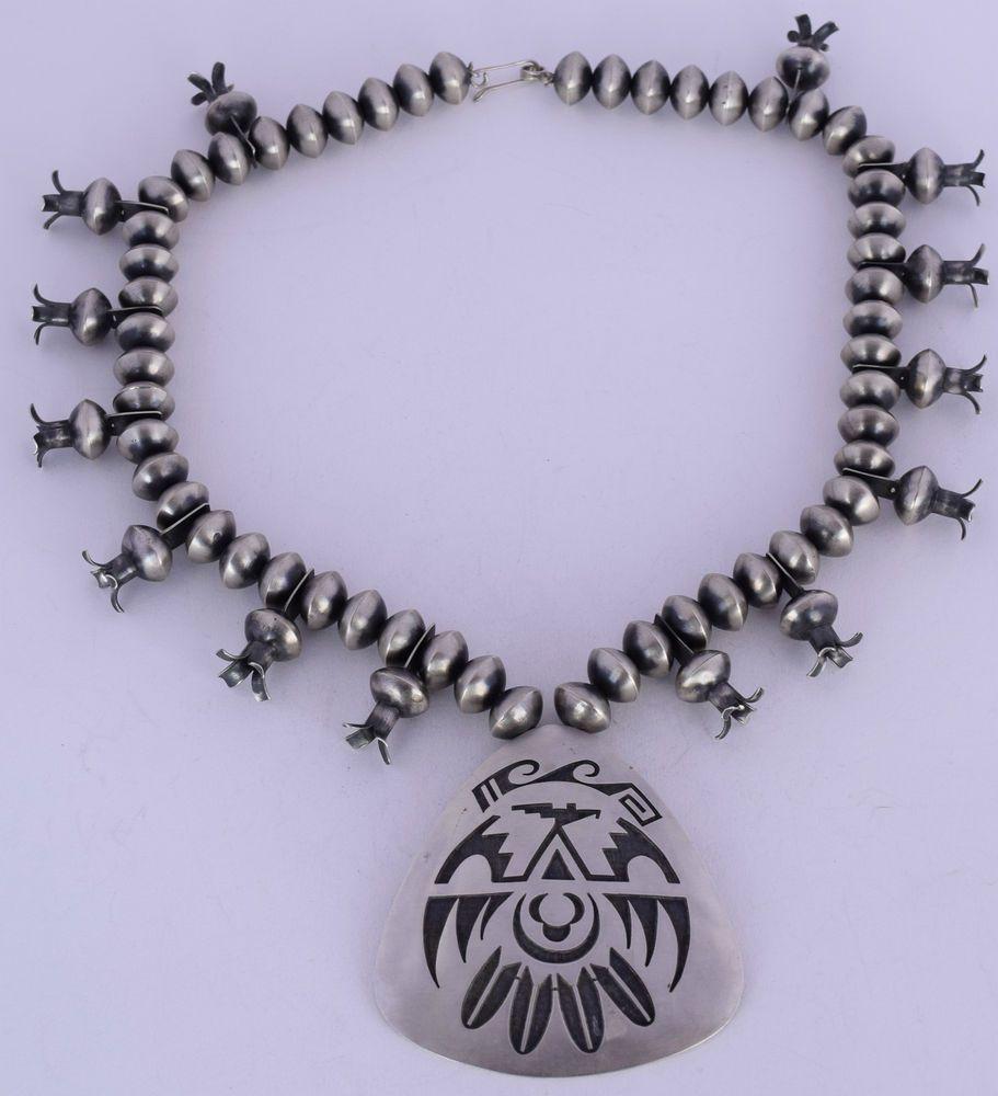 Vintage MASSIVE museum Hopi sterling squash blossom necklace ELGENE SEHONGVA