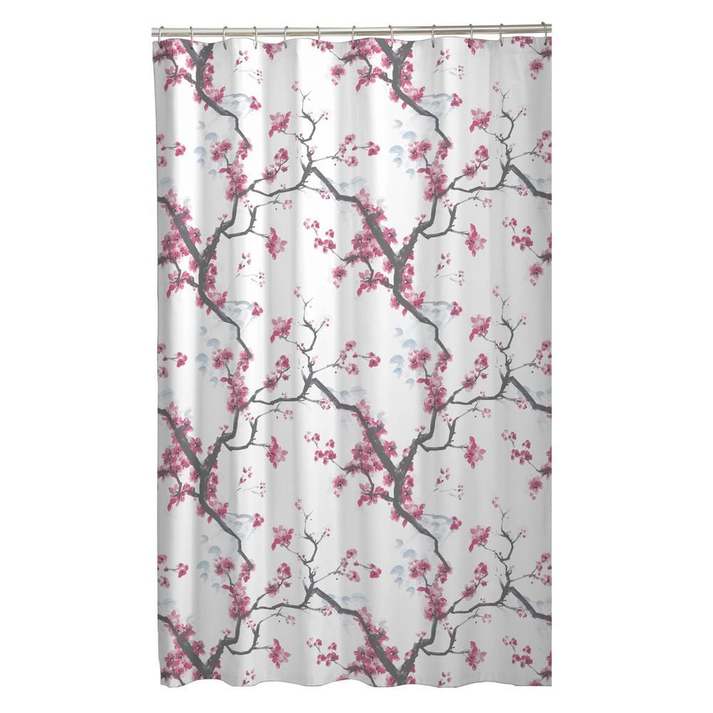 Maytex 70 In X 72 In Cherrywood Cherry Blossom Fabric Shower Curtain Multi Fabric Shower Curtains Curtains Shower