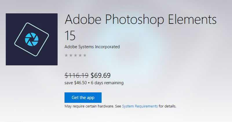 Adobe Elements 15 now at Windows Store with 40