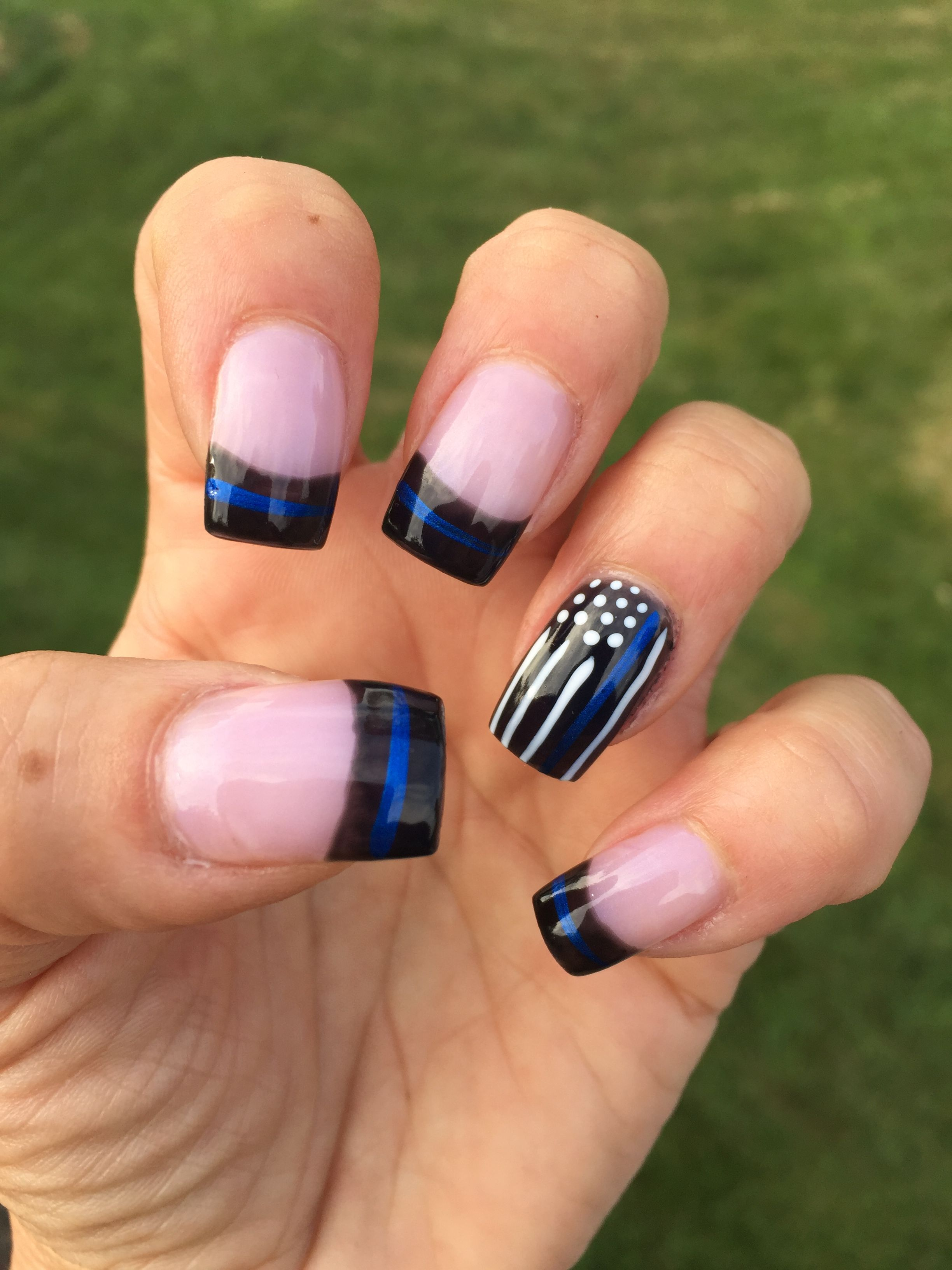 Back The Blue Lines On Nails Thin Nails Country Nails