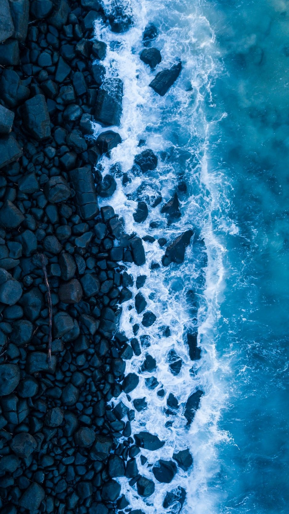 Ocean, surf, rocks, view from above, shore wallpaper