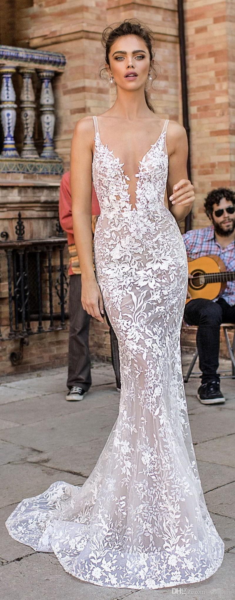 berta mermaid wedding dresses deep v neck backless sweep train