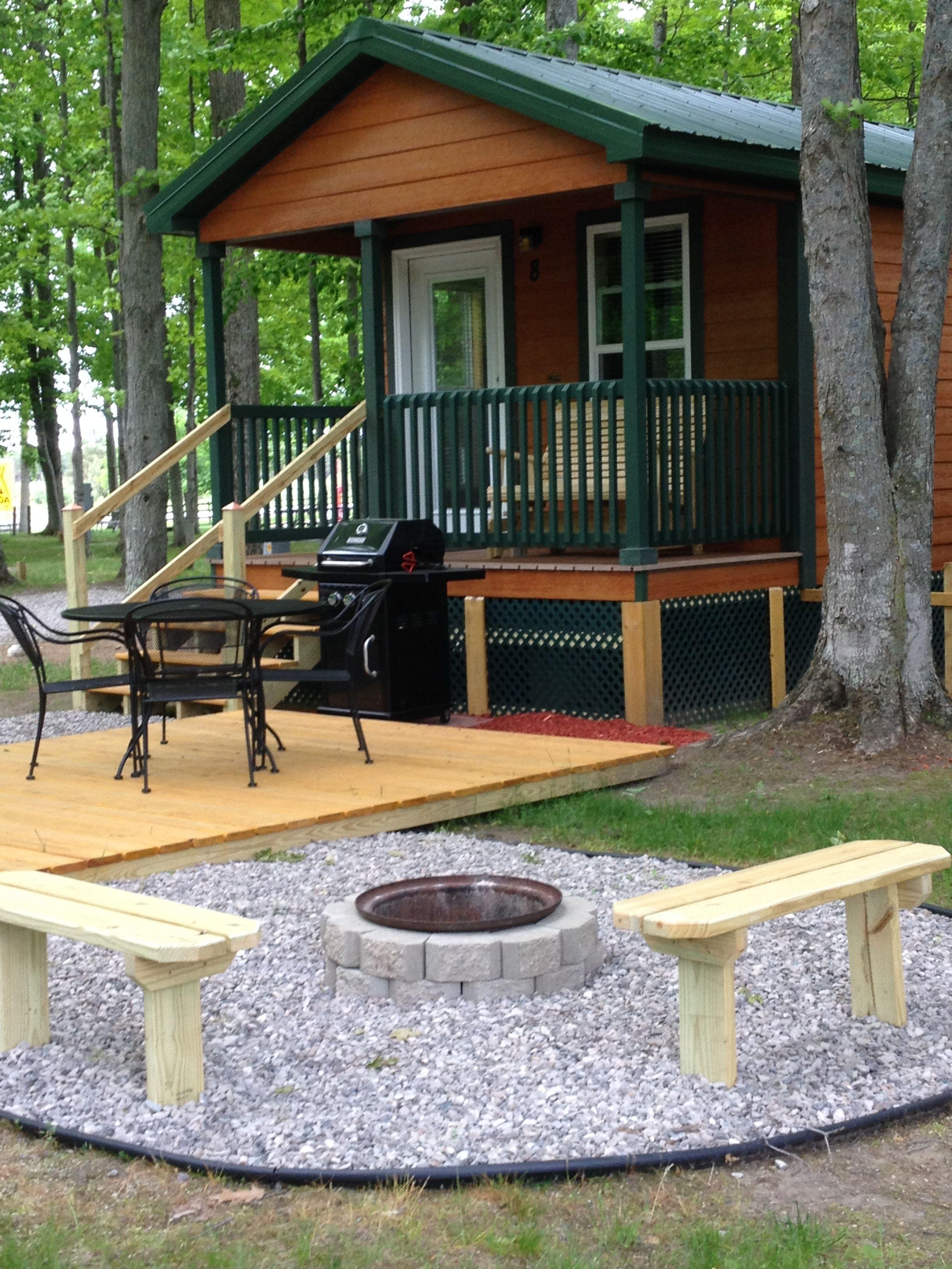 Deluxe Cabins And Lodges Traverse City Koa Traverse City Mi Michigan Campgrounds Michigan Vacations Traverse City Mi