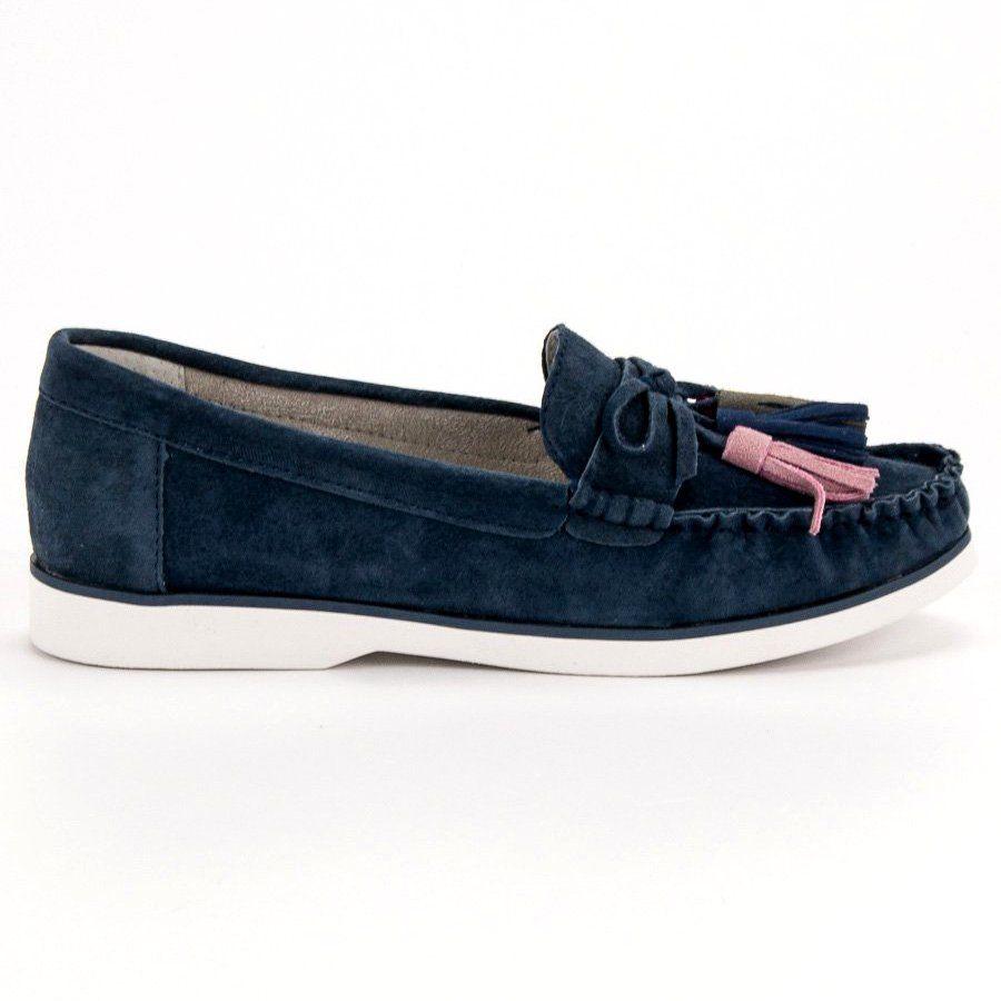 Filippo Skorzane Mokasyny Z Fredzlami Niebieskie Moccasins Women Loafers Leather Loafers