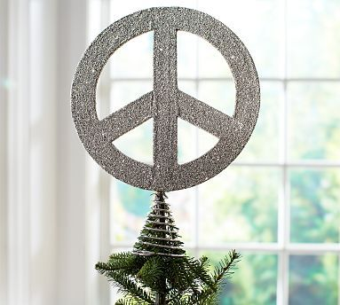 Peace Christmas Tree Topper.German Glitter Peace Sign Tree Topper Potterybarn Holiday